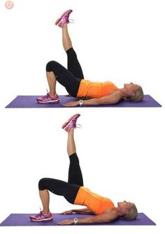 Fitness Must-Do Strength Training Moves for Women Over Single Leg Hamstring Bridge - Research has shown that exercise can slow down the physiological aging clock. Check out these 10 strength training moves for women over Body Fitness, Fitness Diet, Health Fitness, Workout Fitness, Health Diet, Health Care, Fitness Expert, Fitness Senior, Pilates