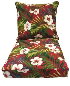 Red Floral Pattern Fabric Reversible Replacement Cushion For Outdoor Patio Chair #GardenTreasures