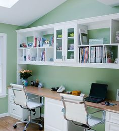 Home Office Design, Pictures, Remodel, Decor and Ideas - two person simple built in desk with cabinet space