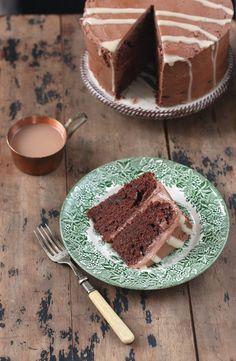 In this rich chocolate mashed potato cake with tahini drizzle, the mashed potato brings bulk to the cake with less fat and sugar. Mashed Potato Cakes, Mashed Potatoes, Cupcakes, Cupcake Cakes, Vegetable Cake, Veggie Cakes, Cupcake Recipes, Dessert Recipes, Tahini