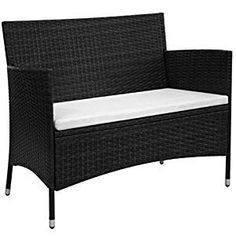 Black Rattan Garden Bench Steel Frame White Cushion Patio Outdoor Lawn Furniture for sale online Wicker Patio Furniture Sets, Wicker Dining Set, Lawn Furniture, Nice Furniture, Coastal Furniture, Furniture Ideas, Patio Seat Cushions, Patio Chairs, Patio Bench