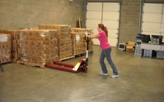 Safety tip: Push, don't pull a pallet jack - Retail Association Services Inc. Pallet Jack, Safety Tips, Workplace, Retail, Sleeve, Retail Merchandising