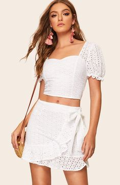 ca8e1b88cc5 Embroidered Eyelet Wrap Tie Waist Skirt