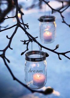 2015 Christmas Hanging Mason Jar Candle Lights ideas - mason jar candle holder, 2015 Outdoor Decor Ideas, tree decor