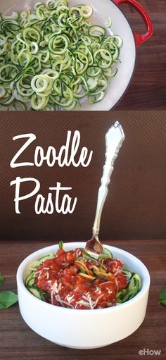 """Zoodles, aka zucchini noodles, are a light, healthy substitute for your favorite pasta dishes! Crank the zucchini through a spiralizer to create long shoestring """"noodles,"""" and then sauté the strands in hot olive oil. The slightly al dente zoodles, mixed with marinara sauce low-carb freindly and deicious! http://www.ehow.com/how_12343457_make-pasta-using-zoodles.html?utm_source=pinterest.com&utm_medium=referral&utm_content=freestyle&utm_campaign=fanpage"""