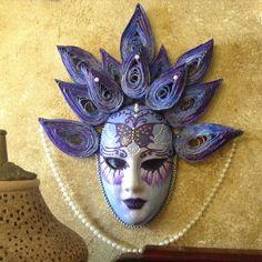 "Venetian mask handmade, ceramic mask wall decoration, quilling ornaments, ""Purple flower Goddess"" by EthnicDrops on Etsy https://www.etsy.com/listing/256355108/venetian-mask-handmade-ceramic-mask-wall"