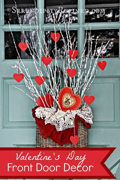 Serendipity Refined Repurposed White Twigs And Paper Hearts: Valentineu0027s  Day Door Decor