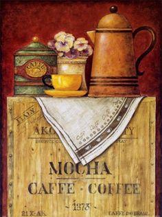 Art Print: Mocha Caffe - Coffee Art Print by Eric Barjot by Eric Barjot : Posters Vintage, Art Vintage, Retro Poster, Decoupage Vintage, Decoupage Paper, Vintage Labels, Vintage Paper, Vintage Style, Coffee Poster