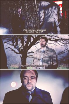 "10x23 Brother's Keeper [gifset] - ""Couldn't you call?"" ""You're not in my contacts list."" - Crowley, Castiel, Supernatural - It's 666, Cas.  Not that hard. XD"