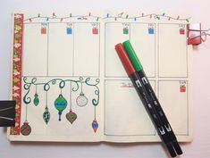 December Bullet Journal Weekly Spreads with ornaments and washi tape. December Bullet Journal, Bullet Journal Layout, Bullet Journal Inspiration, Bullet Journals, Journal Pages, Journal Ideas, Bullet Journal Mental Health, Weekly Spread, Mood Tracker