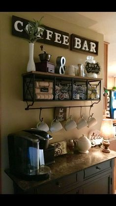 Over 34 exceptional DIY bar ideas for your cozy home / café – Style Of Coffee Bar In Kitchen Kitchen Bar, Office Coffee Bar, Diy Coffee, Diy Coffee Bar, Coffee Bar Home, Bars For Home, Coffee Bar Design, Home Decor, Bar Shelves