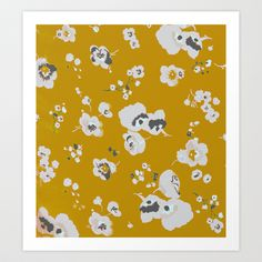 mustard poppies Art Print by threequalsquare - $25.00