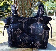 Filigree Black with Taupe and Silver Crosses Shoulder Bag Handbag Tote