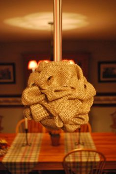 Burlap kissing ball