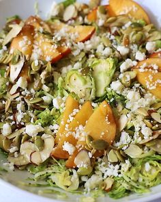Gorgeous peach brussels sprouts salad with sweet & salty nuts and a creamy tahini poppy seed dressing. This vegetarian brussels sprouts peach salad is filled with a wonderful mix of textures and flavors. Enjoy it for th perfect summer lunch or side dish on its own or with your favorite protein!