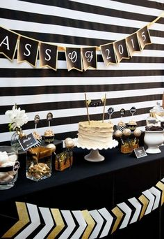 Black and Gold Graduation Party Graduation/End of School Party Ideas | Photo 7 of 13 | Catch My Party #graduationdecorations