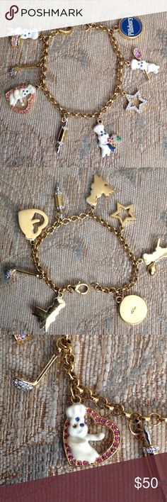 🍰PILLSBURY DOUGHBOY🍰BRACELET Pre owned Danbury Mint charm bracelet, one charm is missing one stone- please see the pictures🚫NO TRADES🚫 Danbury Mint Jewelry Bracelets