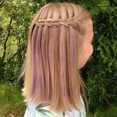 """""""A scissor waterfall braid with some purple hair chalk!  Wishing a very Happy Birthday to Mindy @cutegirlshairstyles and Laura @lauralaine_hair  #HappyBdayMindyTwin #SurpriseMindy_CGH"""" Photo taken by @flettemaria on Instagram, pinned via the InstaPin iOS App! http://www.instapinapp.com (06/24/2015)"""