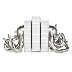 Octopus book ends. I'd like to see them in colours of an octopus rather than metallic but still love them.