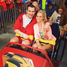 Photo by washingtoncaps - Ovi and Maria on the Superman ride at #Caps Season Ticket Holder Party at Six Flags