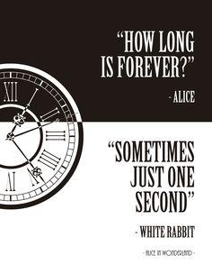 """♥ decora a tua casa e escritório com este poster art-lovers ♥ É também um presente perfeito♥ Fácil de emoldurar ♥ Expedido num tubo robusto ♥ Frase """"how long is forever?"""" – alice """"sometimes, just one second!"""" – white rabbit. Lewis Carroll, Alice in Wonderland…"""