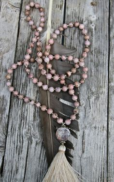 Long Tassel Necklace with Rhodonite and Agate by NORDeastHOME