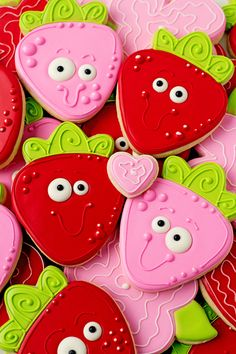 Simple Strawberry Cookies are sugar cookies decorated with royal icing. Add royal icing eyes and a big smile to make them more adorable.