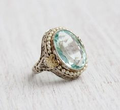 Antique Art Deco 14K White and Yellow Gold Filigree Ring - Size 5 1/4 Vintage 1920s Blue Spinel and Seed Pearl Fine Jewelry / Flower Accents
