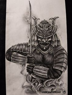 Tattoo Nik Yu - tattoo's photo In the style Whip Shading, Asian, Warrio Samurai Tattoo Sleeve, Samurai Warrior Tattoo, Warrior Tattoos, Sleeve Tattoos, Demon Tattoo, Japanese Warrior Tattoo, Japanese Tattoo Art, Japanese Tattoo Designs, Japanese Art