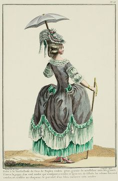 "A Most Beguiling Accomplishment: Galerie des Modes, 13e Cahier, 2e Figure (1778). Caption & long description translated by @Cassidy. ""Robe à la Versailloise of grey gros de Naples,* trimmed with plain muslin, white tassels, the petticoat of a soft green through which one sees the flounce, ribbons of soft green, wearing a hat. The parasol is of a very soft blue-violet... Robe à la Versailloise: it is from Versailles that these Gowns appeared for the first time. The name of the place where..."""