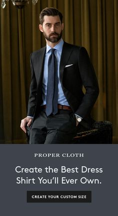 Find out why guys are choosing Proper Cloth's custom dress shirts over traditional off-the-rack brands. Suit Fashion, Mens Fashion, Fashion Outfits, Best Dress Shirts, Suit Combinations, Formal Suits, Black Suits, Men Style Tips, Suit And Tie