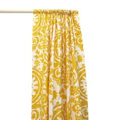 yellow damask curtains to brighten the living room go great against gray walls