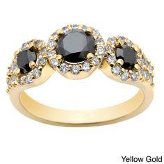 Auriya 14k Gold 1 1/5ct TDW Round Black Diamond Ring (G-H, I1-I2) - Overstock™ Shopping - Top Rated Auriya Diamond Rings