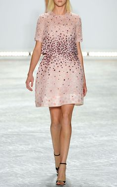 NY Fashion Week, preorder Monique Lhuillier Spring/Summer 2015 Trunkshow Look 15 - Pink Multi Flower Embroidered Evening Top and Pink Multi Flower Embroidered Strapless Dress