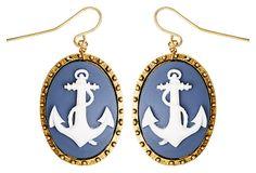Anchor Cameo Earrings, Blue on OneKingsLane.com