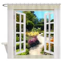 Window View of Garden Path Shower Curtain on CafePress.com