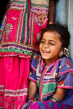 Portrait of a girl from the Marwada Meghwal Harijan tribe wearing traditional clothing in the village of Hodka, located roughly 60km from Bhuj in the Kutch District