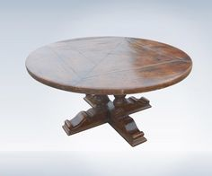 Antique Oak Round Table Of Large 5ft Diameter To Seat 8 People Comfortably