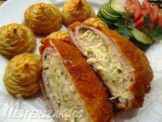 Snidlinges-krémsajtos töltött borda hercegnő burgonyával recept