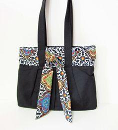 Handmade Black Pleated Handbag Purse Tote Hobo by ColorMeDesigns, $44.95