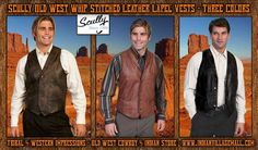 Scully Whip Stitch Leather Lapel Vest - Three Colors- From Tribal And Western Impressions- Old west Cowboy And Indian Store - www.indianvillagemall.com