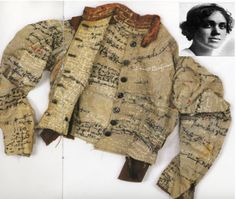 This is the 'uniform' of mental asylum patient.  She was so desperate to 'tell' her story, that she embroidered every inch inside & out of her jacket with her life narrative.  Amazing woman.  More amazing is that it wasn't discarded by staff or relatives.