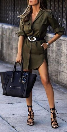 olive shirtdress - too short for wearing in public appearances, but for a casual outing - this is a great look. Fashion Mode, Look Fashion, Womens Fashion, Fashion Trends, Fashion Fashion, Fashionista Trends, Jeans Fashion, Fashion Spring, Hijab Fashion