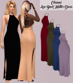 Lumy Sims - Low Back Halter Dress for The Sims 4