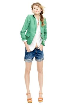 blazer and cuffed cutoffs