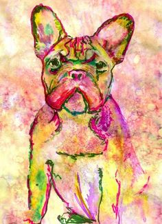 French bulldog fine art print Pink green and yellow art print from an original watercolor painting hand signed portrait by Oscar Jetson. Choice of sizes.