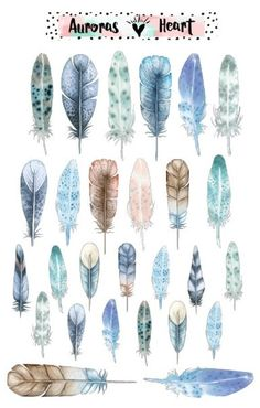 Feathers blue soft watercolor planner stickers boho - Painting Ideas and Tips Feather Drawing, Watercolor Feather, Watercolor Journal, Feather Art, Feather Design, Watercolor Stickers, Watercolor Cards, Watercolor Paintings, Planner Stickers