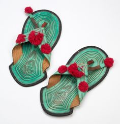 Wide Hausa thong sandals from West Africa are dyed with natural pigments. This pair is circa 1965.