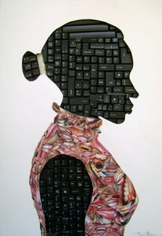 "Maurice Mbikayi | Untitled, 2010, Computer keyboard and collage on cardboard    ""Maurice Mbikayi was born in the Democratic Republic of Congo in 1974."