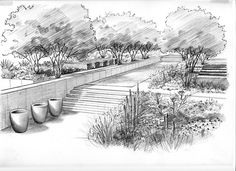 ideas garden design sketch art for 2019 Landscape Sketch, Landscape Plans, Landscape Drawings, Urban Landscape, Landscape Design, Architecture Design Concept, Architecture Drawings, Landscape Architecture, Masterplan Architecture